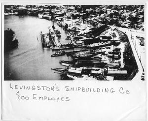 Primary view of object titled '[Aerial view of Levingston Shipbuilding Co.]'.