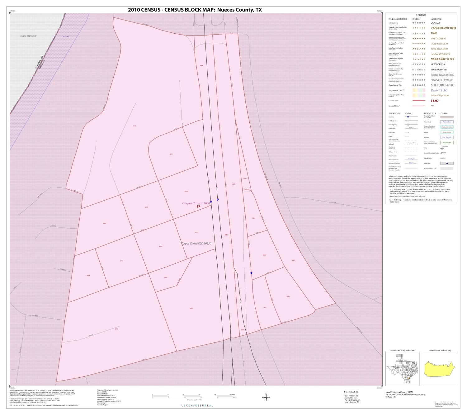 2010 Census County Block Map: Nueces County, Inset A01                                                                                                      [Sequence #]: 1 of 1