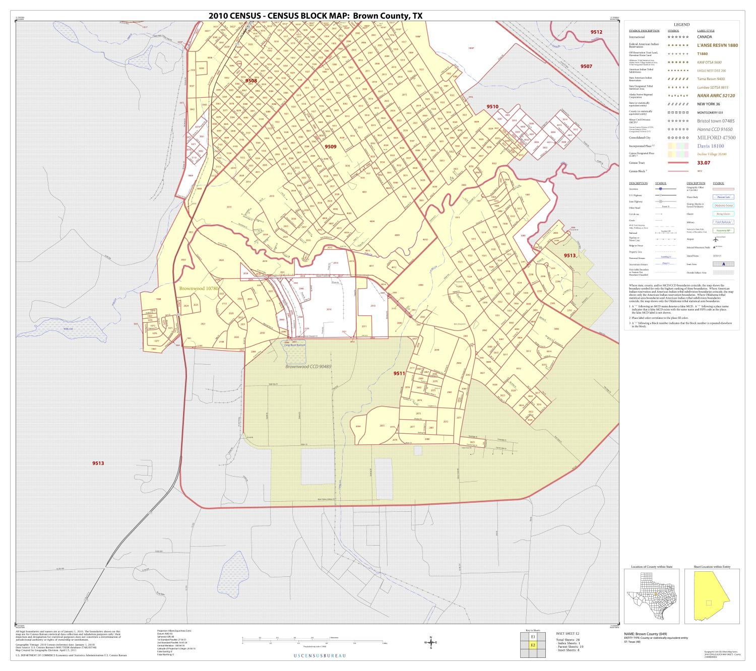 2010 Census County Block Map: Brown County, Inset E02                                                                                                      [Sequence #]: 1 of 1