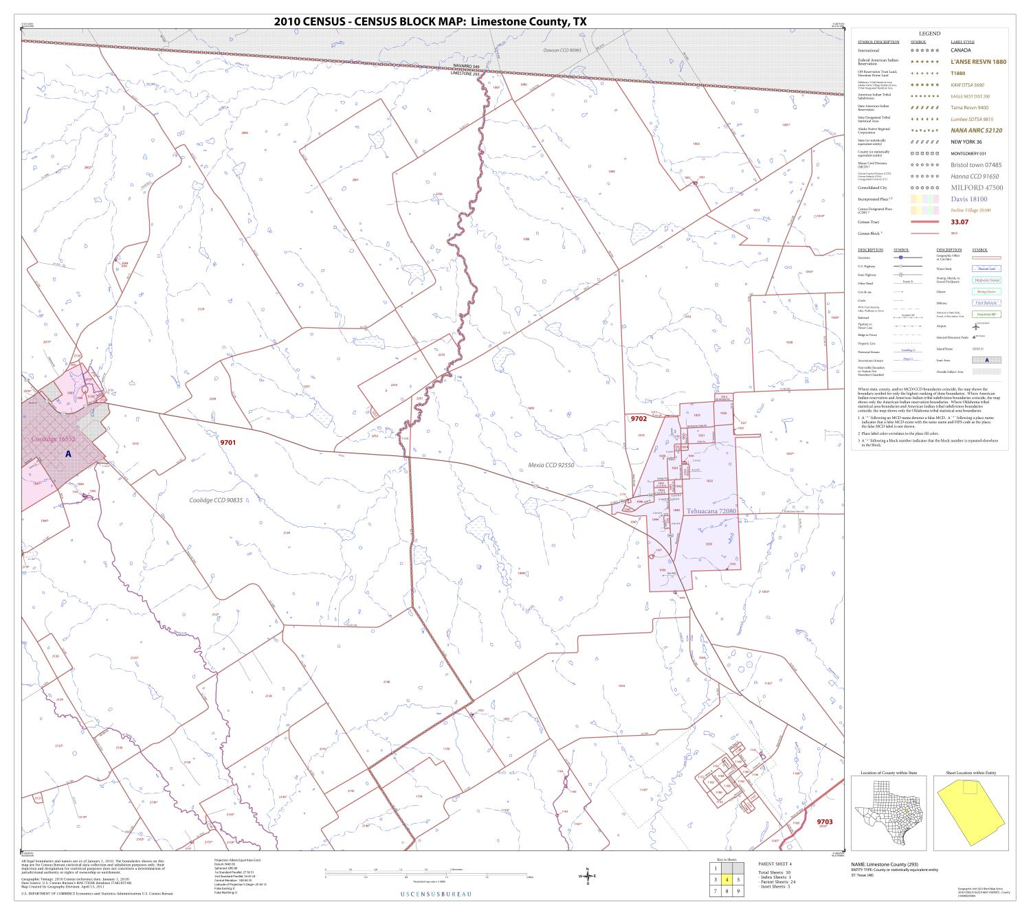 2010 Census County Block Map: Limestone County, Block 4                                                                                                      [Sequence #]: 1 of 1