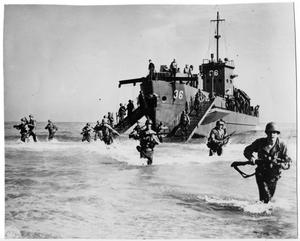Primary view of object titled '[Landing Craft Infantry, In Action]'.
