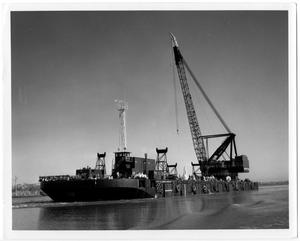 Primary view of object titled '[Large Barge with Derrick]'.