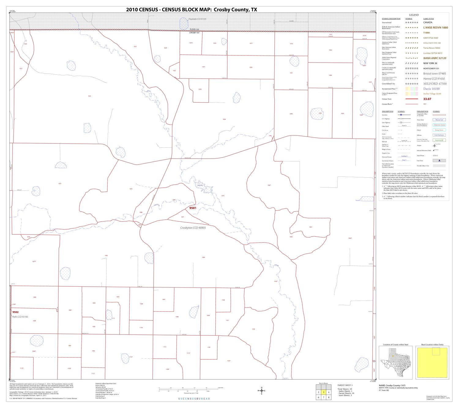 2010 Census County Block Map: Crosby County, Block 3                                                                                                      [Sequence #]: 1 of 1