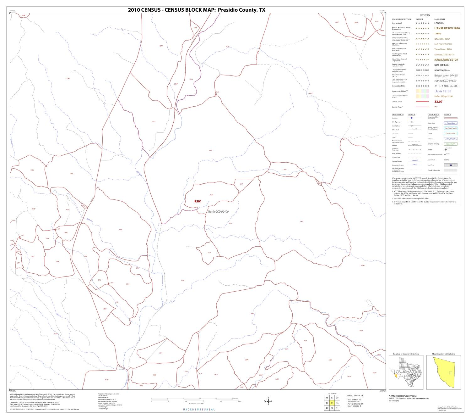 2010 Census County Block Map: Presidio County, Block 44                                                                                                      [Sequence #]: 1 of 1