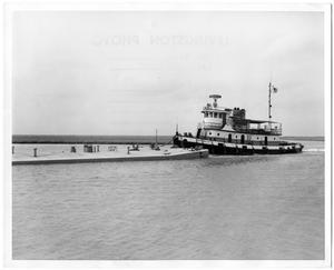 "Primary view of object titled '[Tugboat ""Kate Malloy"" and Oil Barge ""LSC-52""]'."