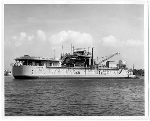 Primary view of object titled '[Photograph of Large Vessel on Water]'.