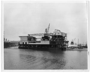 "Primary view of object titled '[Photograph of Inland Drilling Barge ""Swamp Master""]'."