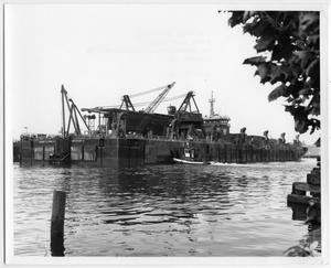 Primary view of object titled '[Photograph of McDermott Lay Barge No. 23]'.