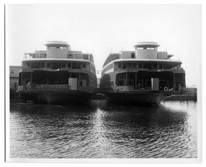 Primary view of object titled '[Two Ferry boats docked]'.