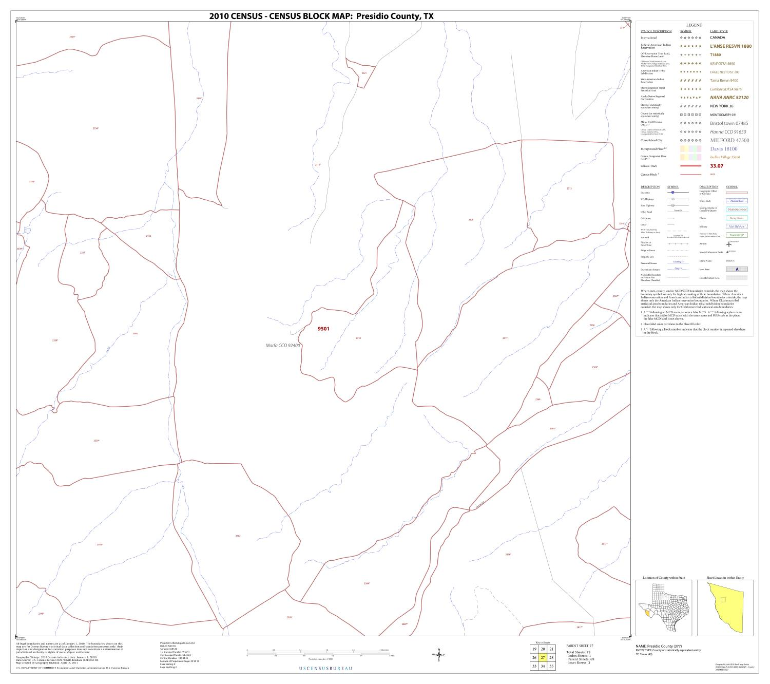 2010 Census County Block Map: Presidio County, Block 27                                                                                                      [Sequence #]: 1 of 1