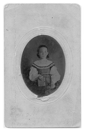 Primary view of object titled '[Young Sarah Olivia holding small book]'.