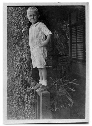 Primary view of object titled '[Boy standing on railing]'.
