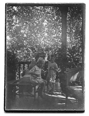 Primary view of object titled '[Two children on a porch]'.