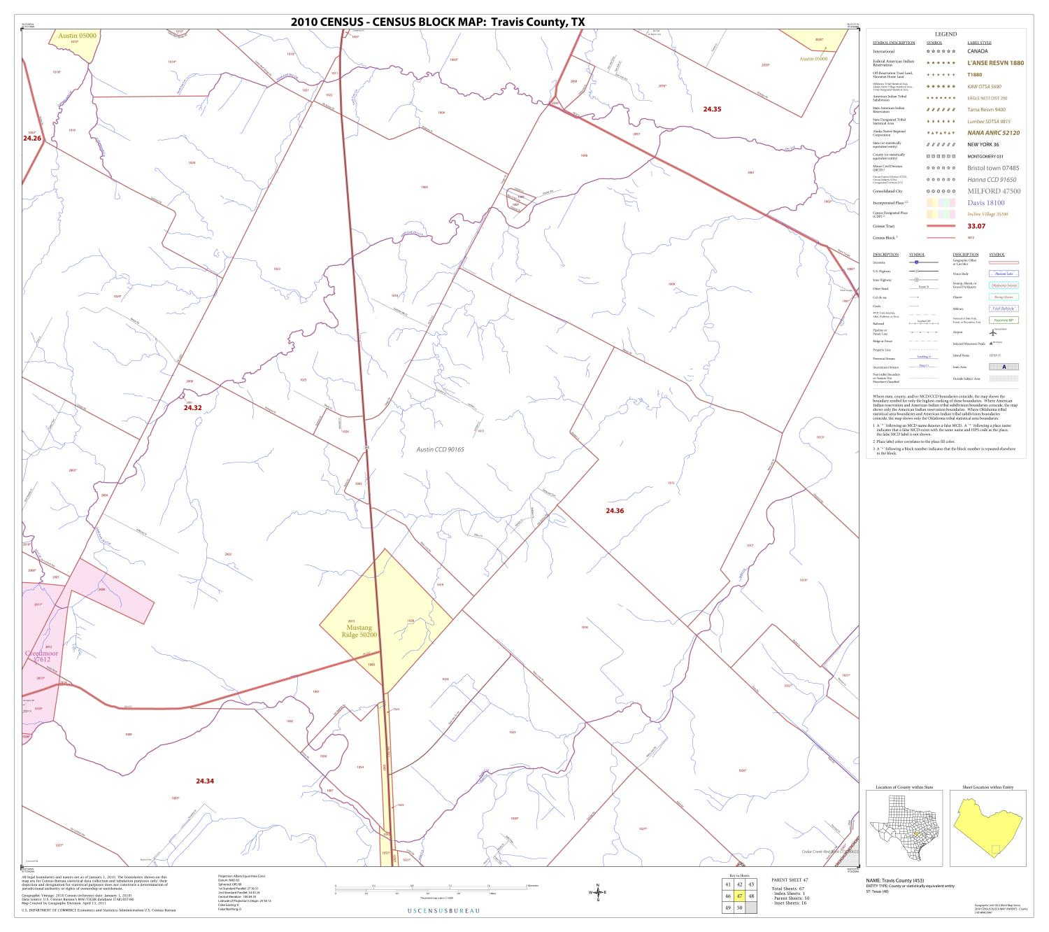 2010 Census County Block Map: Travis County, Block 47                                                                                                      [Sequence #]: 1 of 1