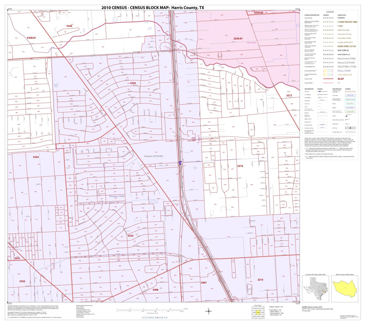 2010 Census County Block Map: Harris County, Block 134                                                                                                      [Sequence #]: 1 of 1