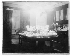 Primary view of object titled '[Dining room table setting]'.