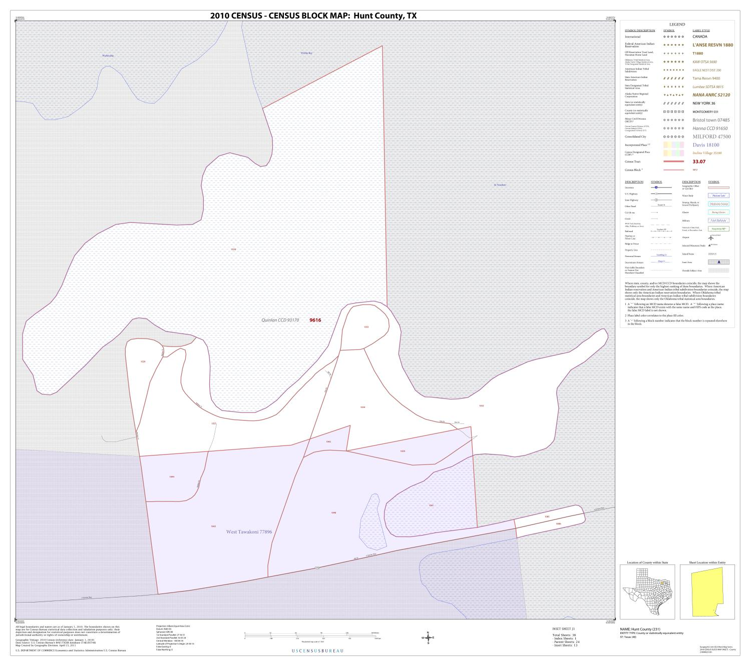 2010 Census County Block Map: Hunt County, Inset J01                                                                                                      [Sequence #]: 1 of 1