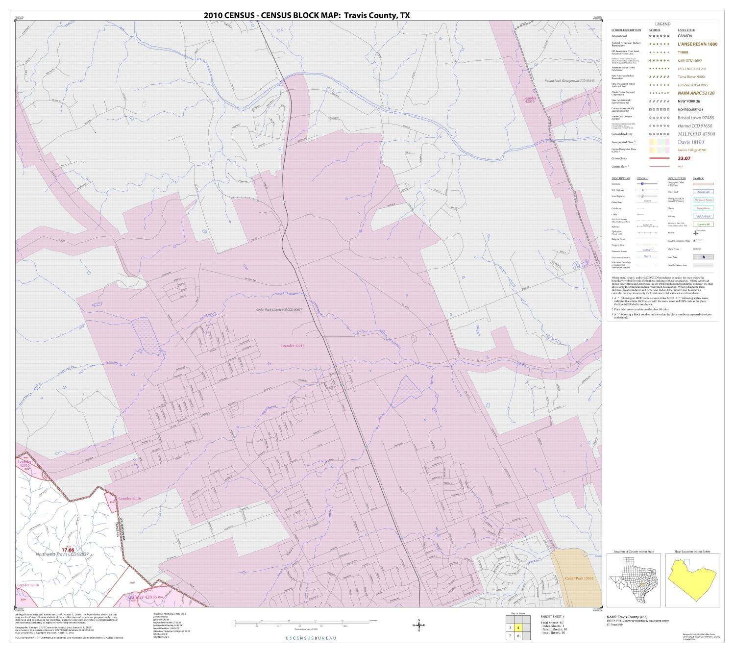 2010 Census County Block Map: Travis County, Block 4                                                                                                      [Sequence #]: 1 of 1