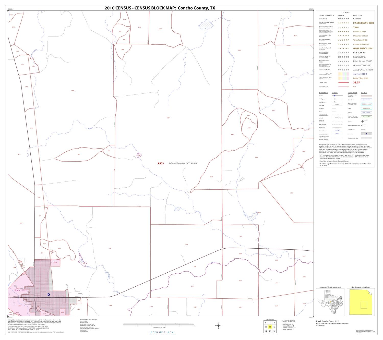 2010 Census County Block Map: Concho County, Block 11                                                                                                      [Sequence #]: 1 of 1
