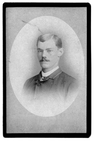 [Oval photograph of unknown man with moustache]