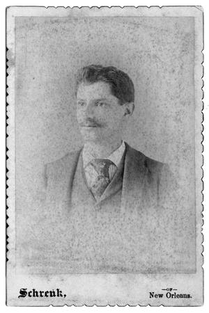Primary view of object titled '[Young man in suit with moustache]'.