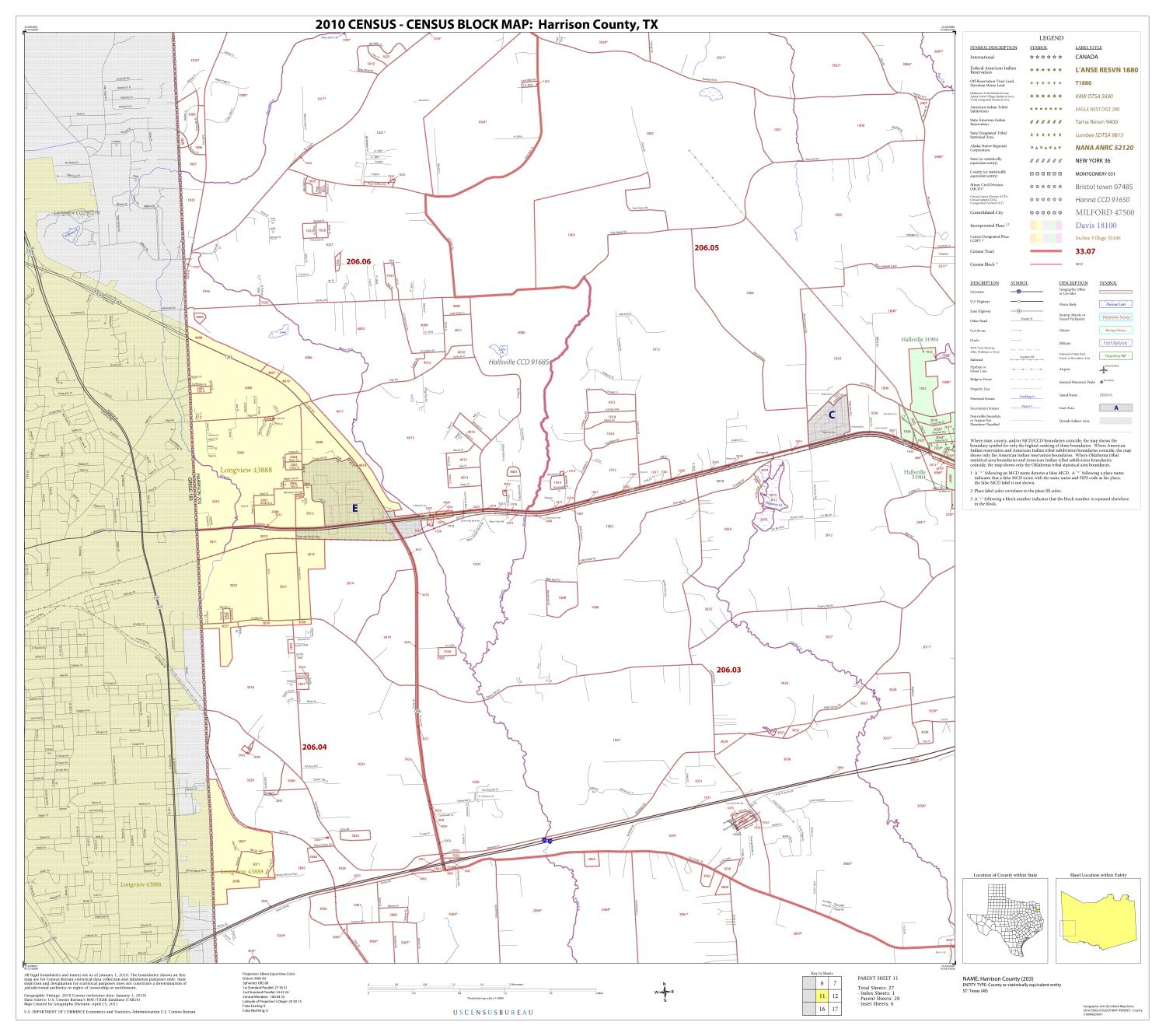 2010 Census County Block Map: Harrison County, Block 11                                                                                                      [Sequence #]: 1 of 1