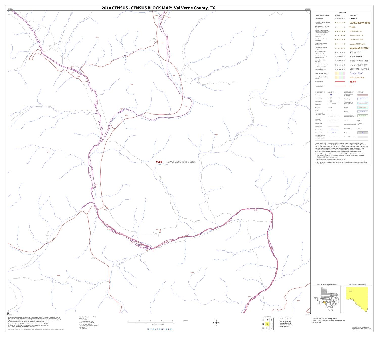 2010 Census County Block Map: Val Verde County, Block 13                                                                                                      [Sequence #]: 1 of 1