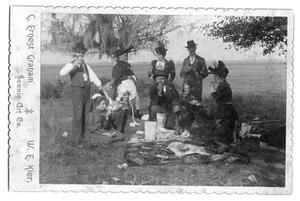 Primary view of object titled 'Cabinet Card - 4 Men, 6 Ladies at Picnic. Ochiltree Collection.'.
