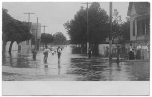 Primary view of object titled '[Postcard of Flooded Street]'.