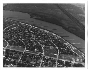 Primary view of object titled '[Aerial View of Sabine River and Riverside Area in 1950]'.