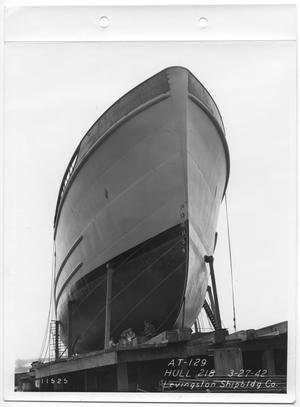 Primary view of object titled '[Frontal View of a Ship's Hull]'.
