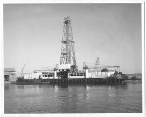 "Primary view of object titled '[Drilling Barge ""Spindletop"" in Water]'."