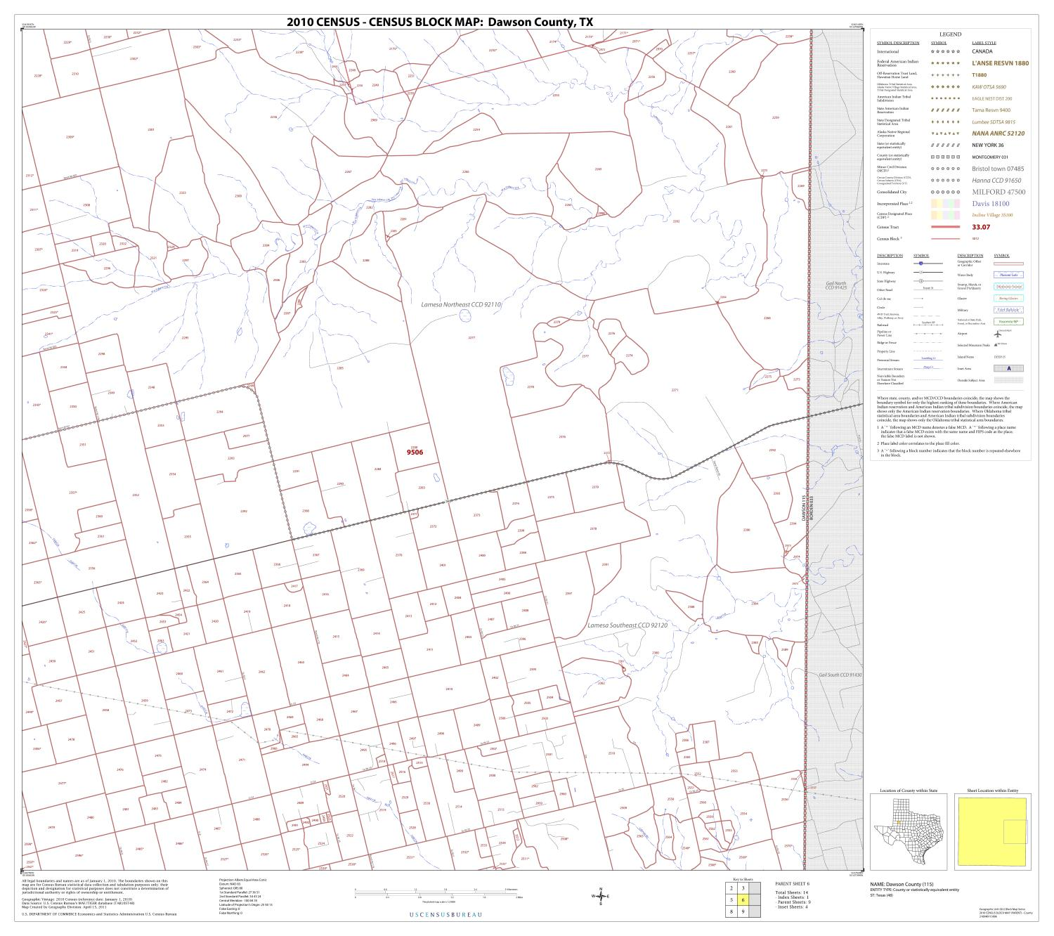 2010 Census County Block Map: Dawson County, Block 6                                                                                                      [Sequence #]: 1 of 1