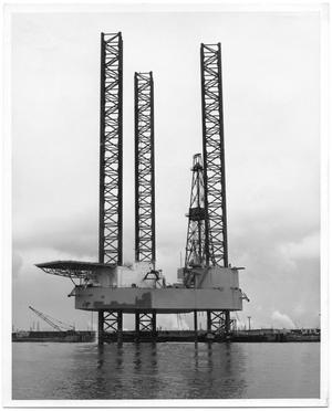 Primary view of object titled '[Drilling Rig Standing in Water]'.
