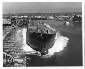 Primary view of object titled '[Large Ship Being Launched]'.