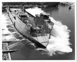 "Primary view of object titled '[Ship ""Inagua Sound"" Being Launched into Water]'."