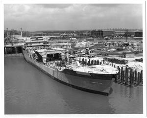 "Primary view of object titled 'Docked ""Glomar Challenger"" Ship at Pier'."
