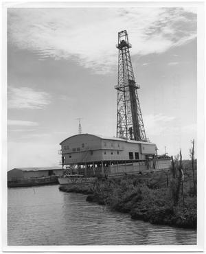 Primary view of object titled 'A Docked Oil Rig'.