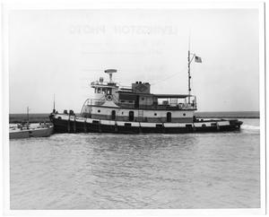 "Primary view of object titled '[Tugboat ""Kate Malloy"" Pushing a Barge]'."