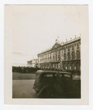 Primary view of object titled '[People Gathered Outside of the Hôtel de Ville of Nancy, France]'.