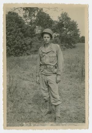 Primary view of object titled '[Photograph of William Cure in Training Field]'.