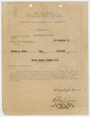 Primary view of object titled '[Application for Additional Shoe Certificate]'.