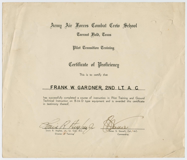 Certificate Of Proficiency Frank W Gardner The Portal To Texas