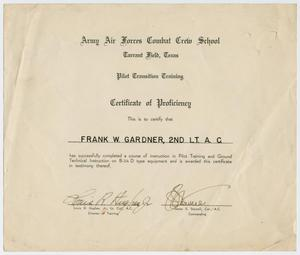 Primary view of object titled '[Certificate of Proficiency, Frank W. Gardner]'.