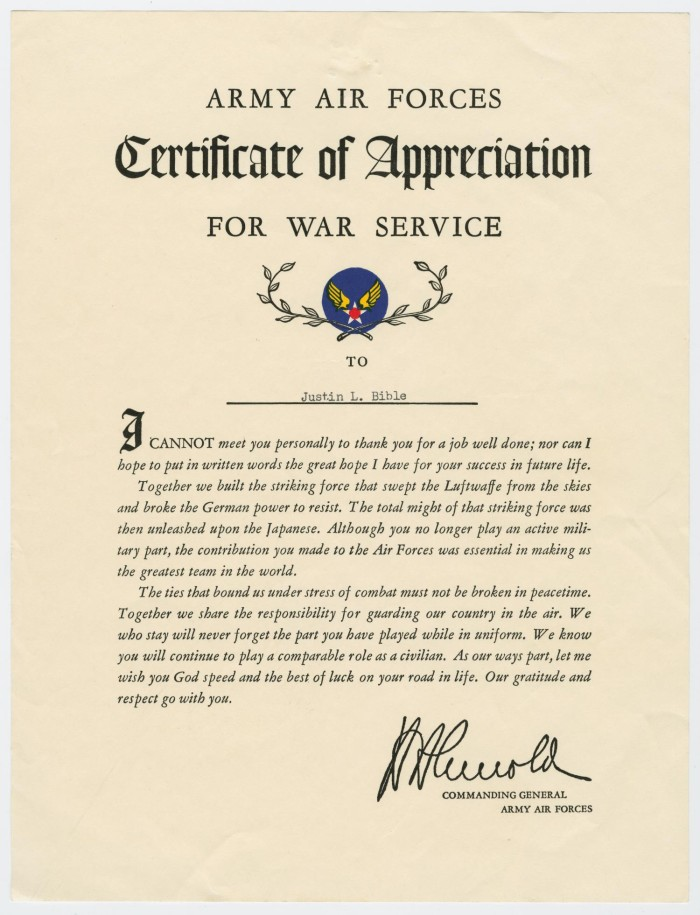 Certificate Of Appreciation For War Service The Portal To Texas