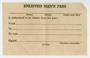[Enlisted Man's Pass]