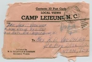 [Envelope from Jack C. Vaughan to Mrs. R. B. Vaughan]