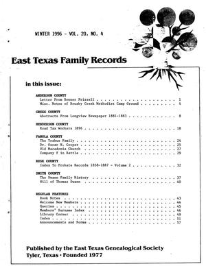 Primary view of object titled 'East Texas Family Records, Volume 20, Number 4, Winter 1996'.