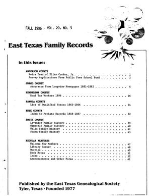 East Texas Family Records, Volume 20, Number 03, Fall 1996