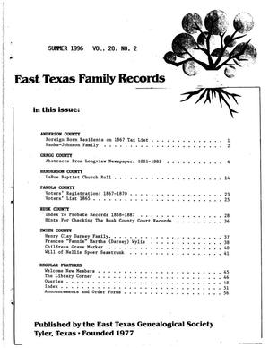 Primary view of object titled 'East Texas Family Records, Volume 20, Number 02, Summer 1996'.